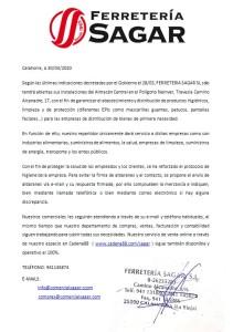 COMUNICADO SAGAR 30/03/2020