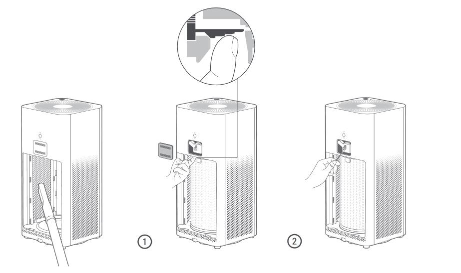 Iconos explicativos para la limpieza del Limpieza del Xiaomi MiAir H2